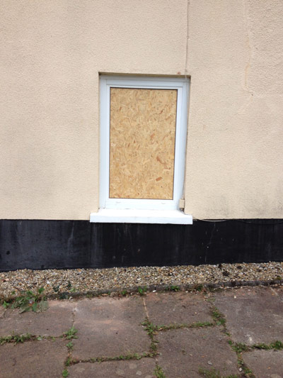 Boarded Up Broken Window at Domestic Property