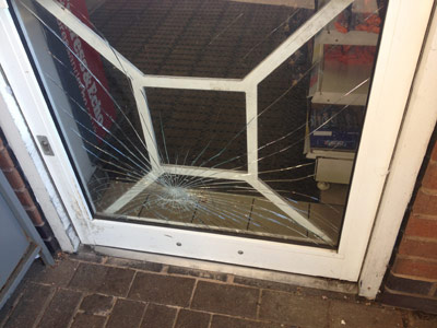 Broken Glass at Commercial property
