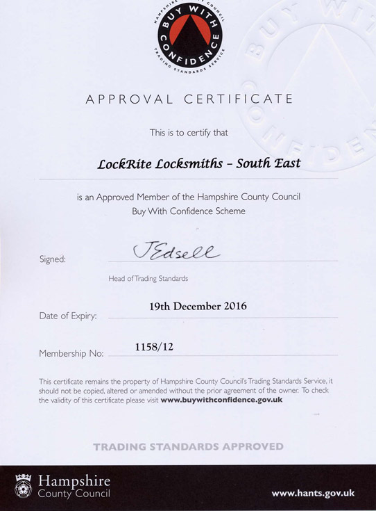 Trading Standards Approved Locksmith