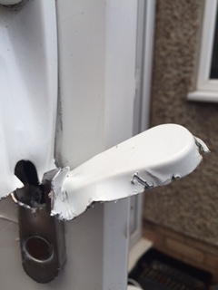 Damage Caused To uPVC Door After Break In - Lock Snapped