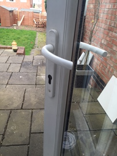 Damage Left To uPVC Door After Break In - Lock Snapped