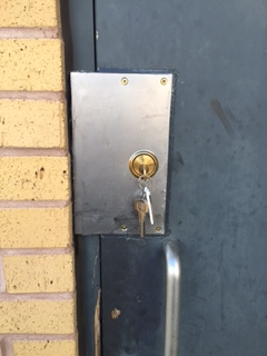 Toilet Door After Steel Plate Added For Extra Security