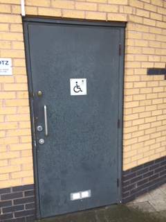 Public Toilet Door Before Steel Plate Fitted For Added Security