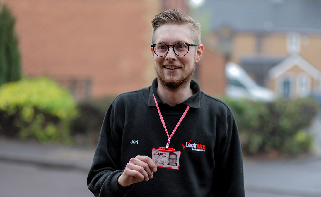 LockRite Locksmith Showing ID Badge - Jon Challen, Your Bristol Locksmith