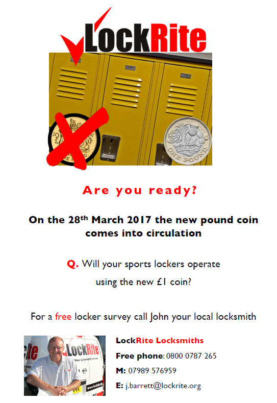 Sports Lockers - new Pound Coin